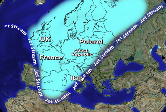 North Atlantic jet stream charts