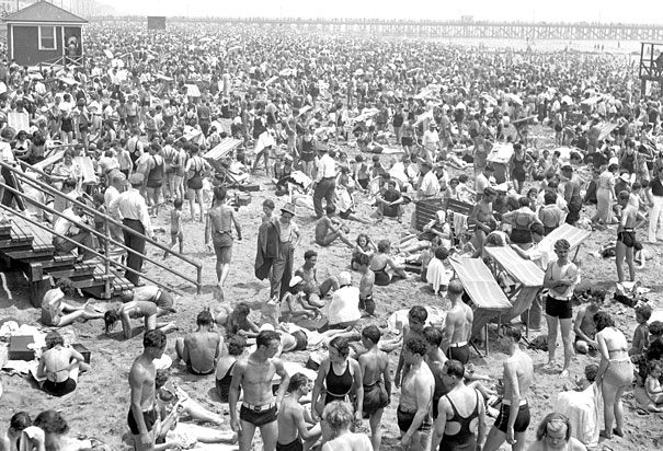 New Yorkers crowd  the beach at Coney Island during the heat wave of 1936.  Image Credit: NY Daily News