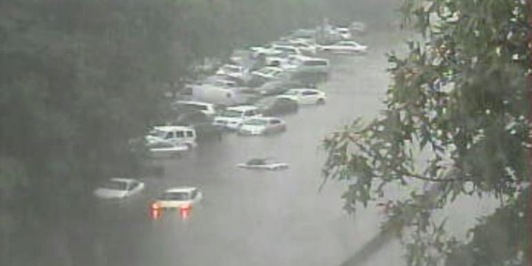 Flood waters strand cars on Sunrise Highway in Valley Stream on Long Island, NY.  Credit: wpix11
