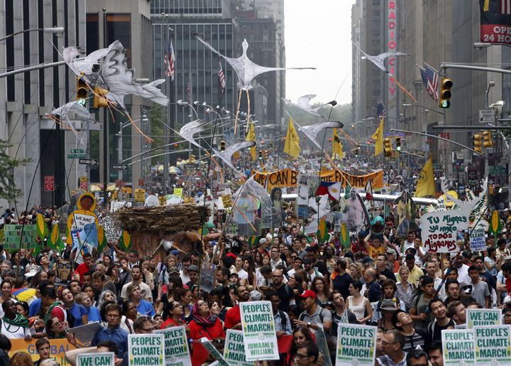 Demonstrators making their down Sixth Ave in mid-town Manhattan during the People's Climate March.  Image Credit: Fox News/AP
