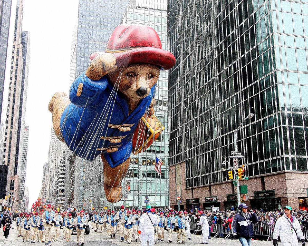 Paddington Bear Balloon floats down 6th Ave in Macy's Thanksgiving Day Parade.  Credit: Macy's